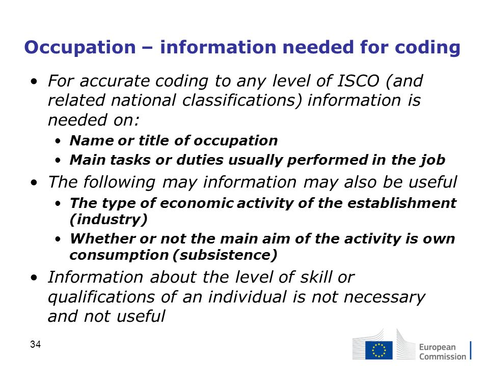 Occupation – information needed for coding