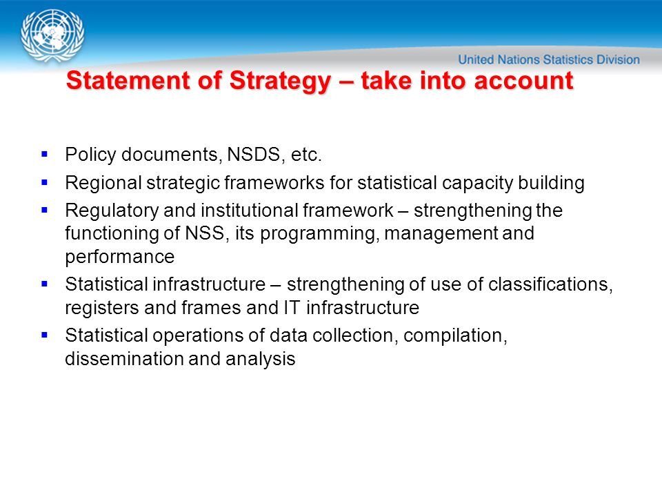 Statement of Strategy – take into account