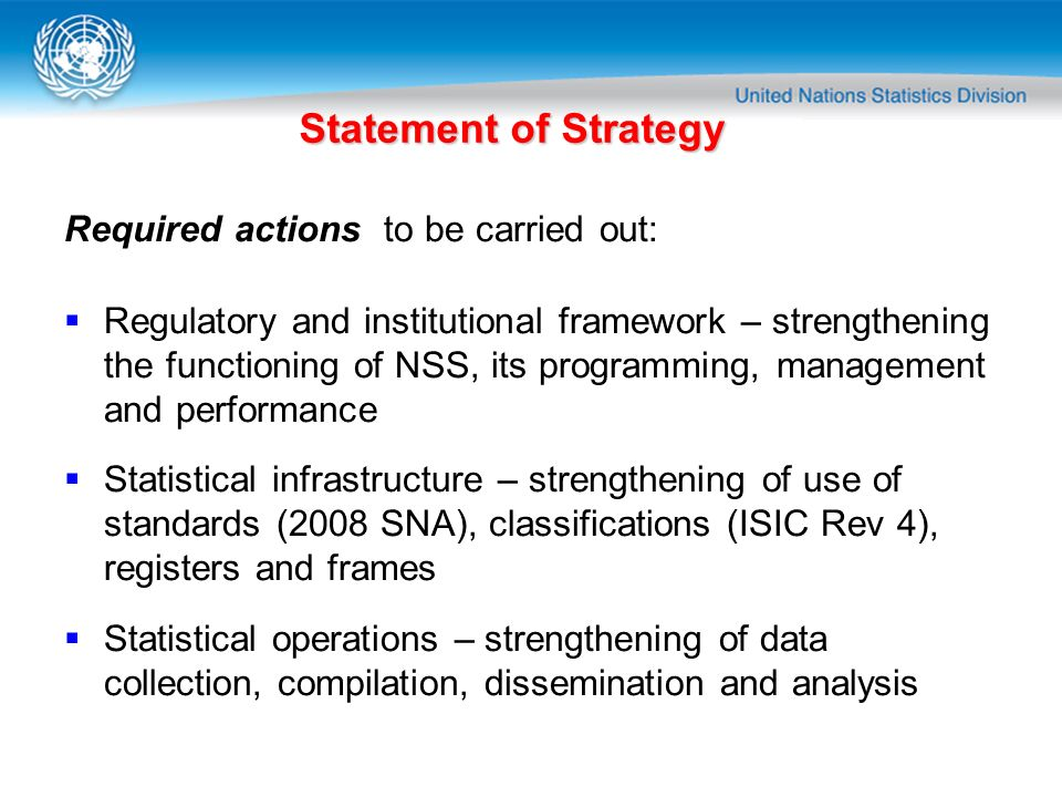 Statement of Strategy Required actions to be carried out: