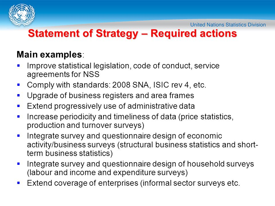 Statement of Strategy – Required actions