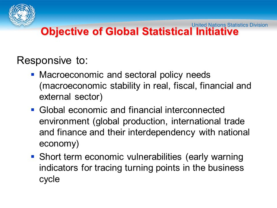 Objective of Global Statistical Initiative