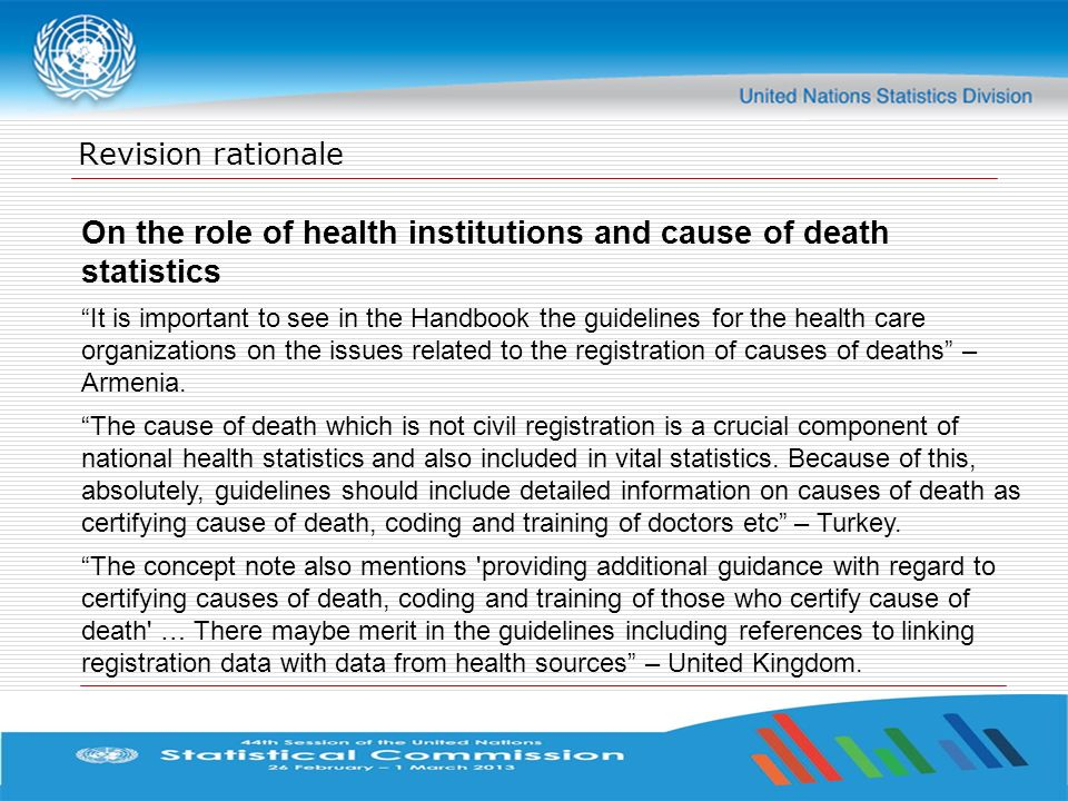 On the role of health institutions and cause of death statistics