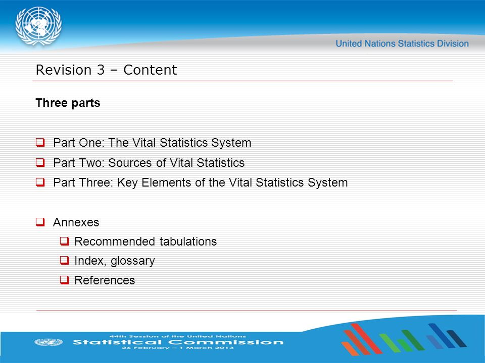 Revision 3 – Content Three parts Part One: The Vital Statistics System