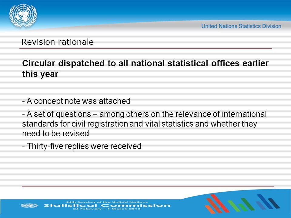 Revision rationale Circular dispatched to all national statistical offices earlier this year. A concept note was attached.