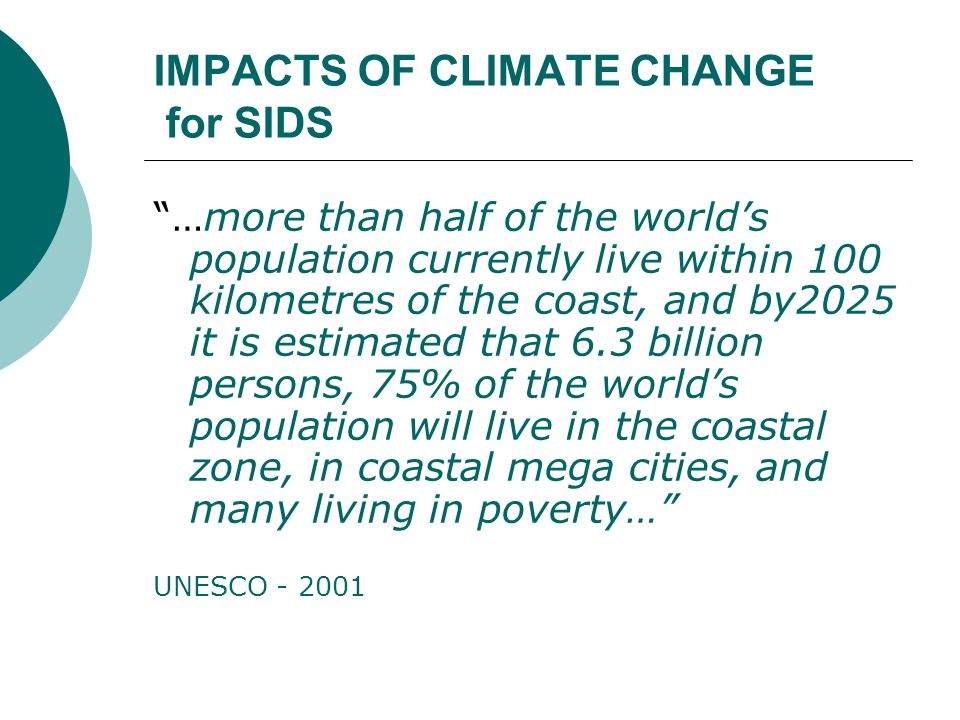 IMPACTS OF CLIMATE CHANGE for SIDS