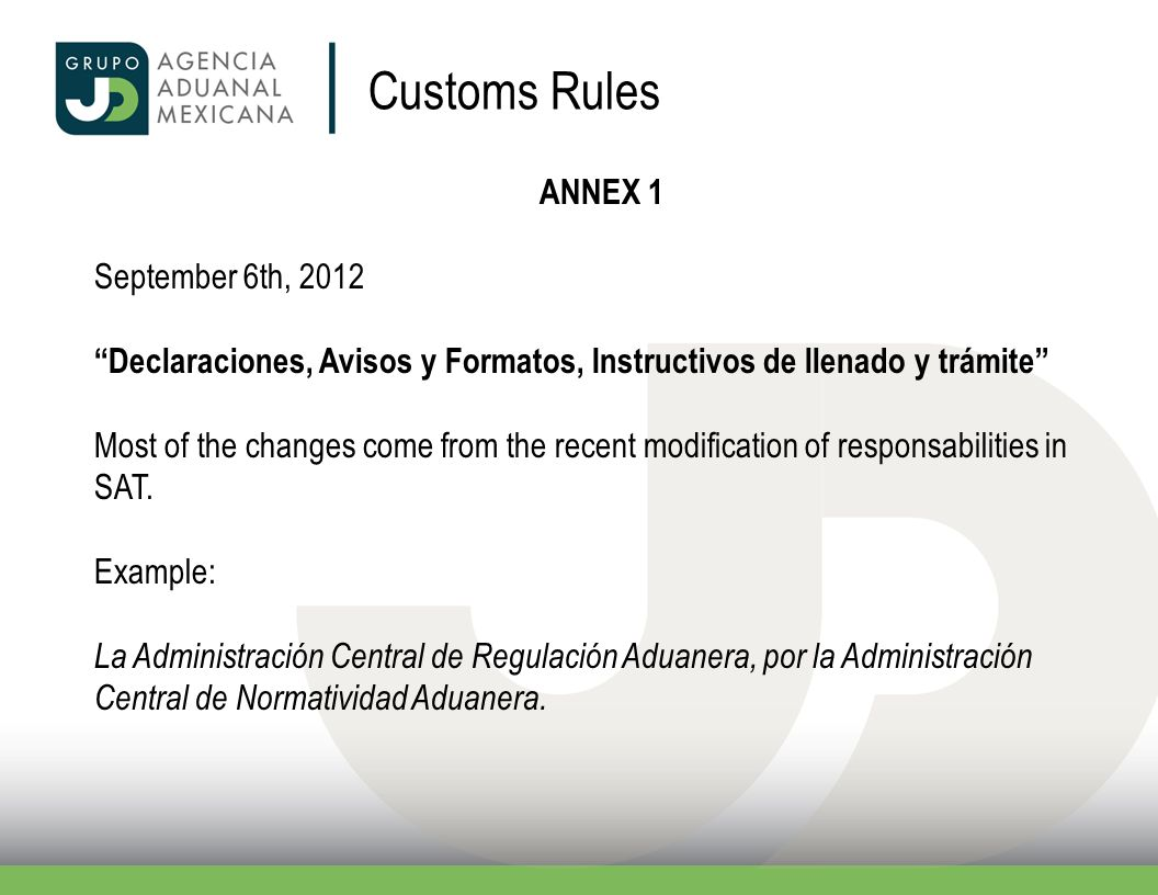 Customs Rules ANNEX 1 September 6th, 2012