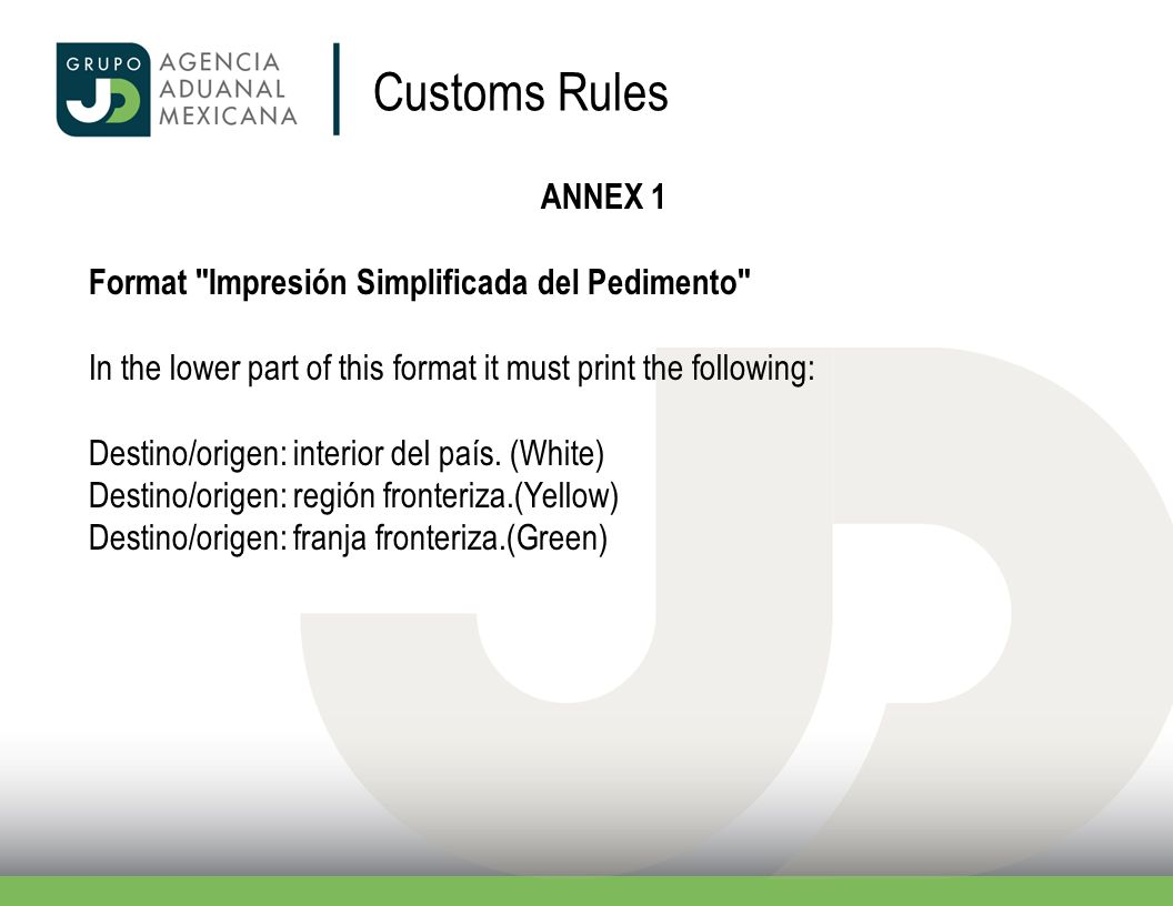 Customs Rules ANNEX 1 Format Impresión Simplificada del Pedimento