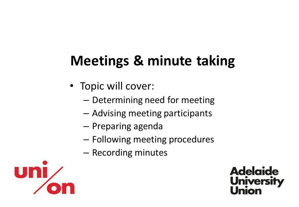 Meetings & minute taking