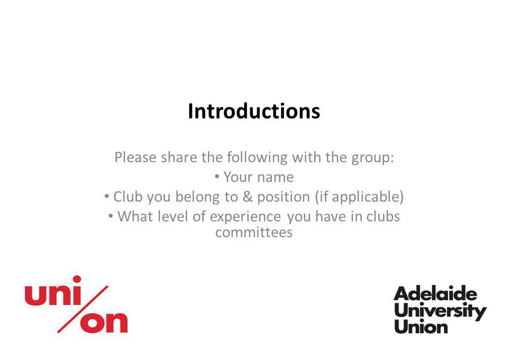 Introductions Please share the following with the group: Your name
