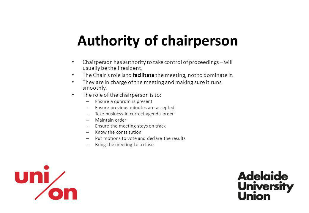 Authority of chairperson