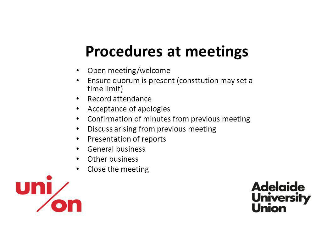 Procedures at meetings
