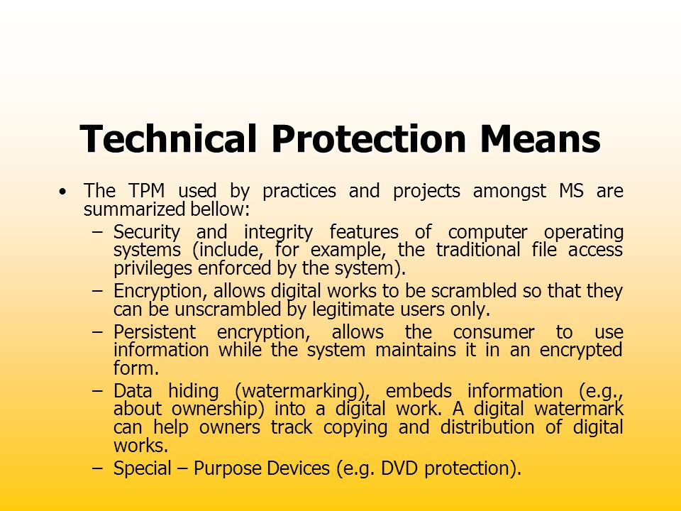 Technical Protection Means