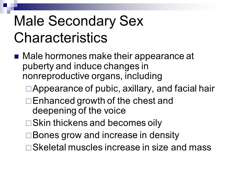 Teens secondary sex characteristics of males