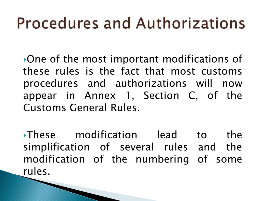 Procedures and Authorizations