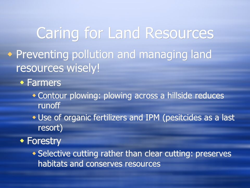 Caring for Land Resources