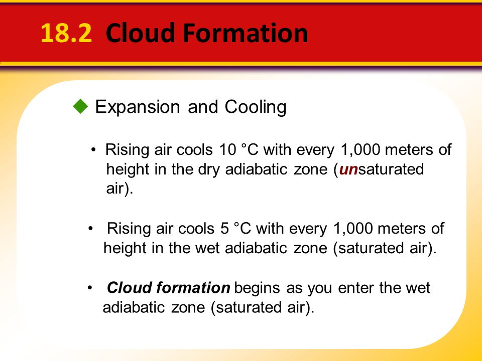 18.2 Cloud Formation  Expansion and Cooling