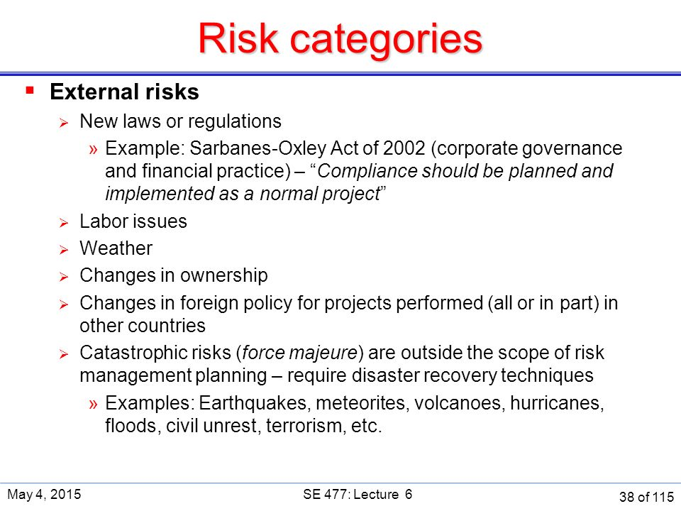 examples of risk management techniques