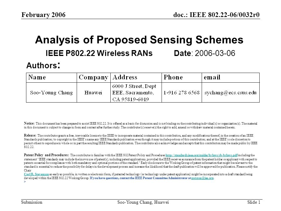 Analysis of Proposed Sensing Schemes