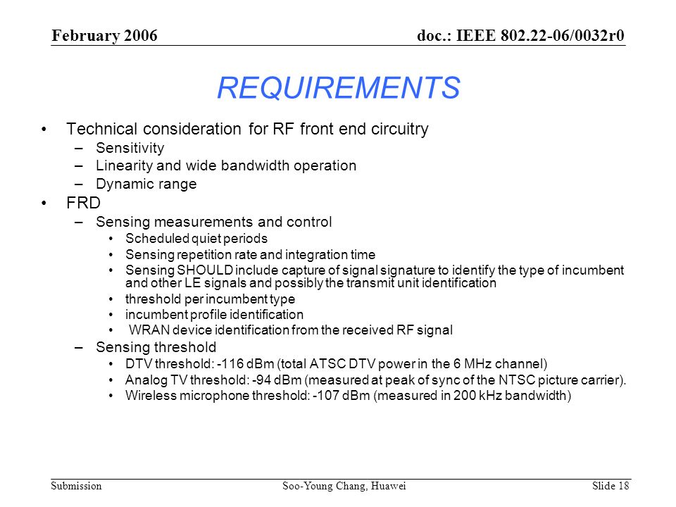 REQUIREMENTS February 2006 doc.: IEEE 802.22-06/0032r0