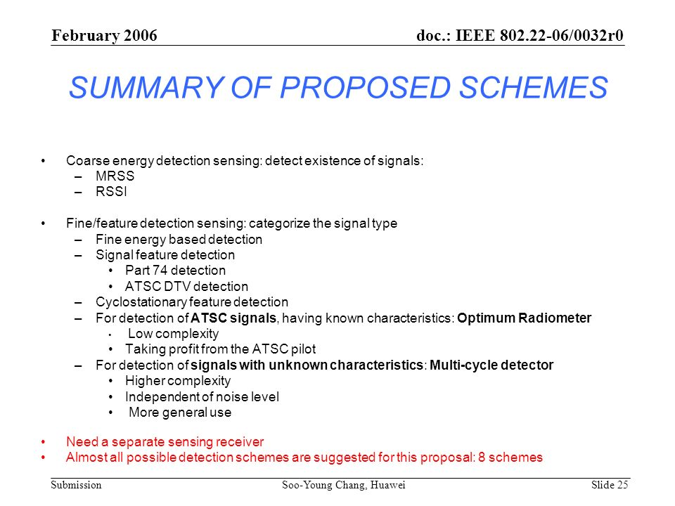 SUMMARY OF PROPOSED SCHEMES