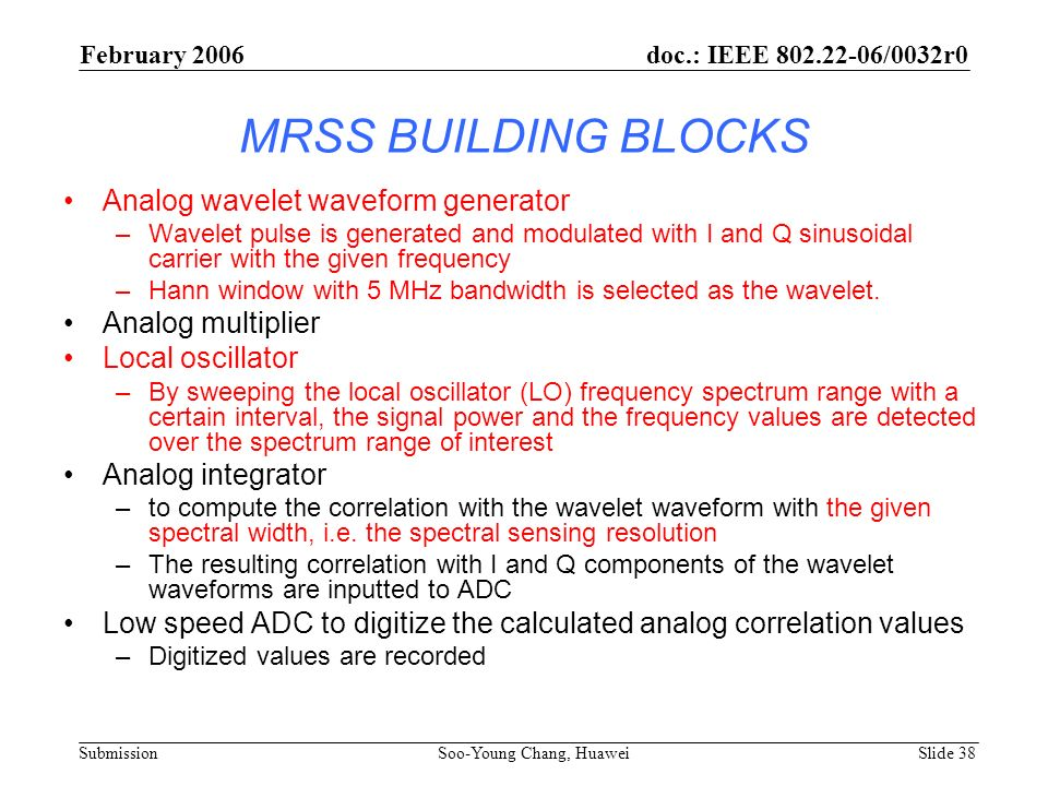 MRSS BUILDING BLOCKS Analog wavelet waveform generator