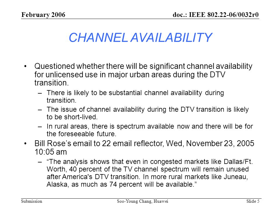February 2006 doc.: IEEE 802.22-06/0032r0. CHANNEL AVAILABILITY.
