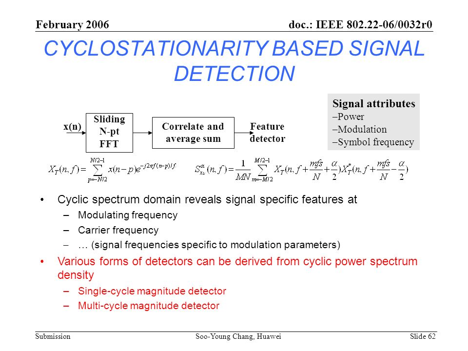 CYCLOSTATIONARITY BASED SIGNAL DETECTION