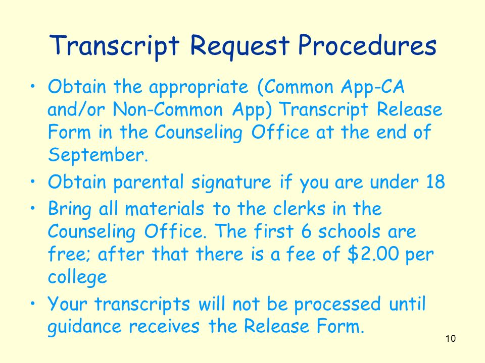 Transcript Request Procedures
