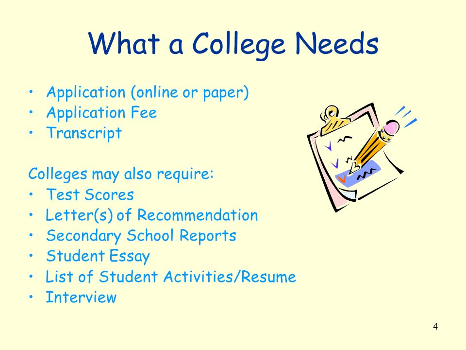 What a College Needs Application (online or paper) Application Fee