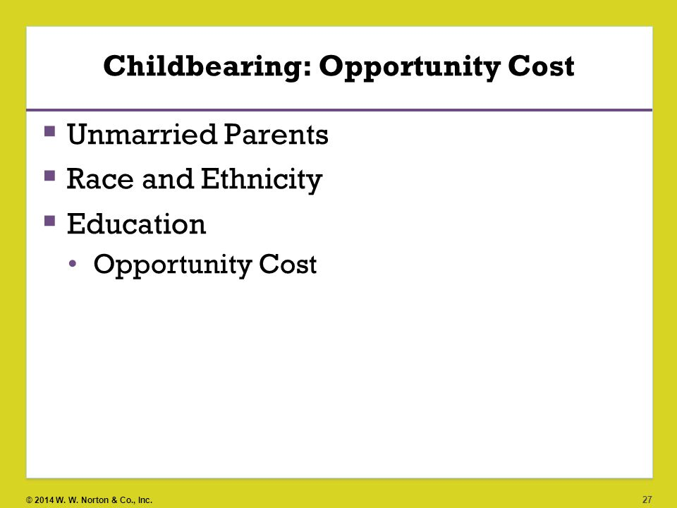 Childbearing: Opportunity Cost