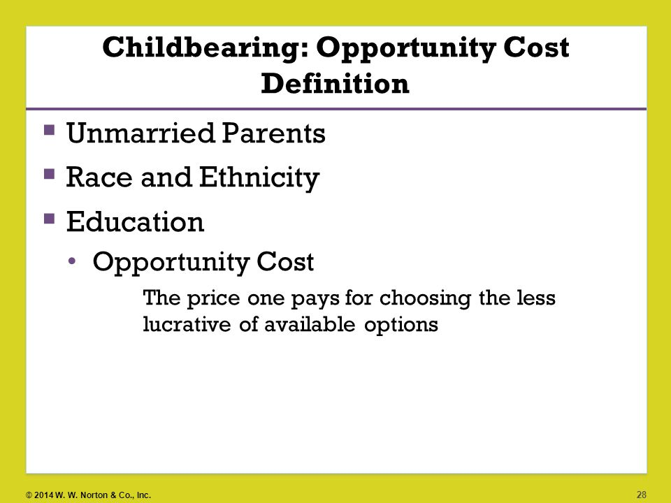Childbearing: Opportunity Cost Definition