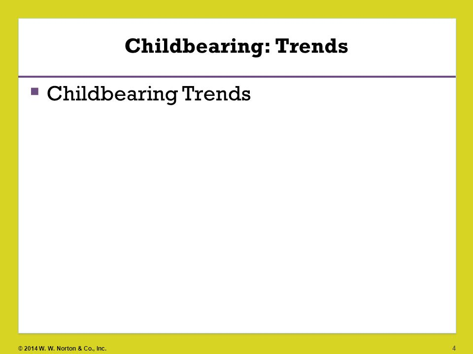 Childbearing: Trends Childbearing Trends