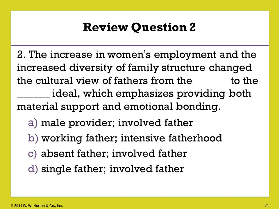 Review Question 2 male provider; involved father