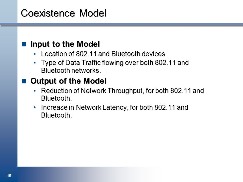 Coexistence Model Input to the Model Output of the Model
