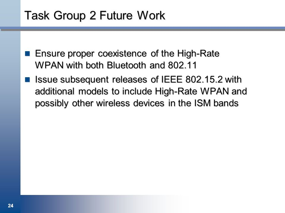 Task Group 2 Future Work Ensure proper coexistence of the High-Rate WPAN with both Bluetooth and 802.11.