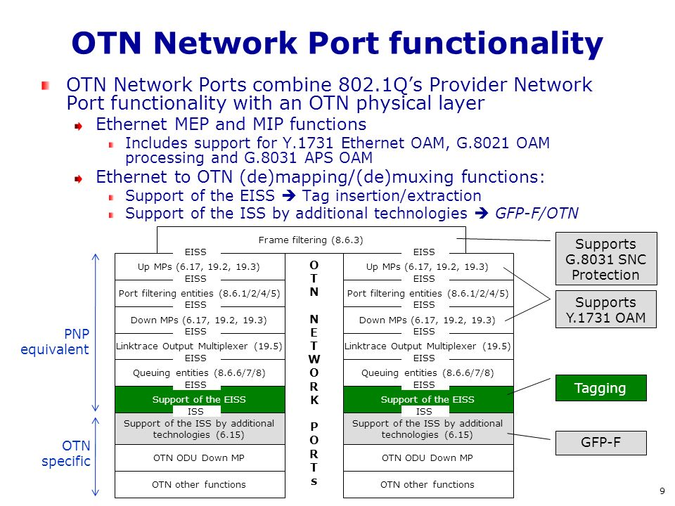 OTN Network Port functionality