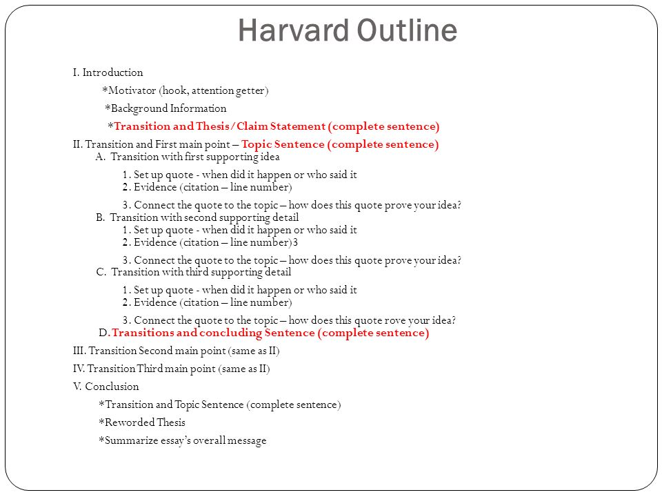 harvard style essay outline