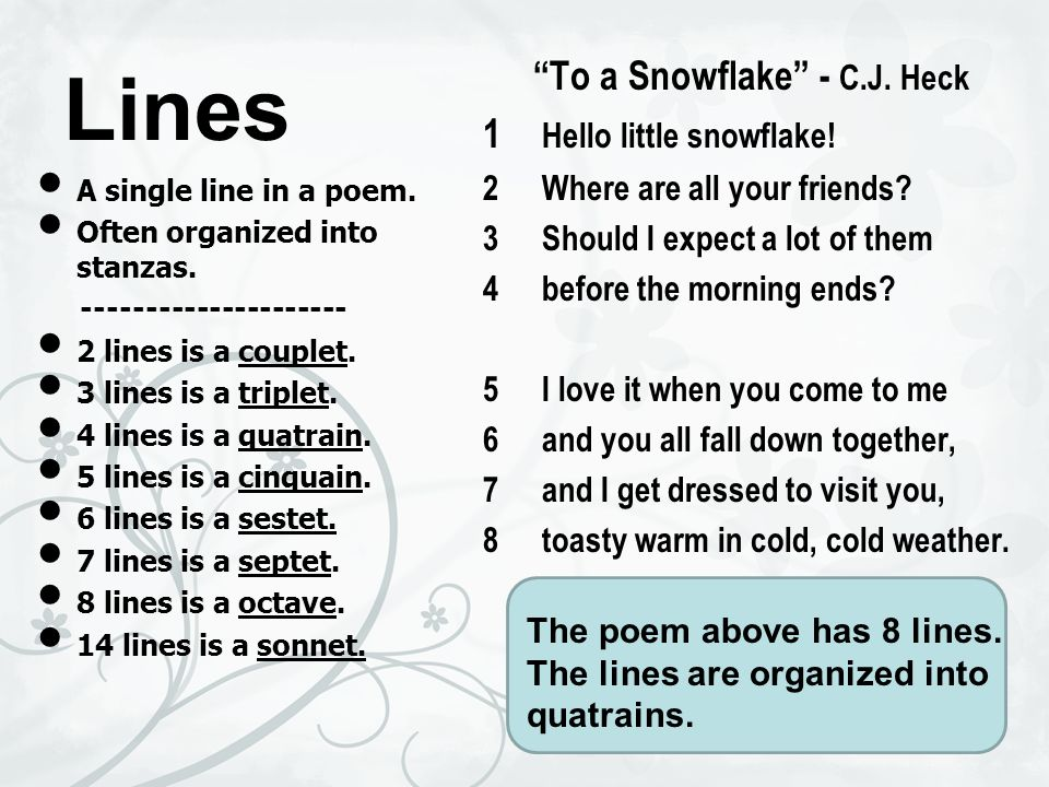 To A Snowflake C J Heck
