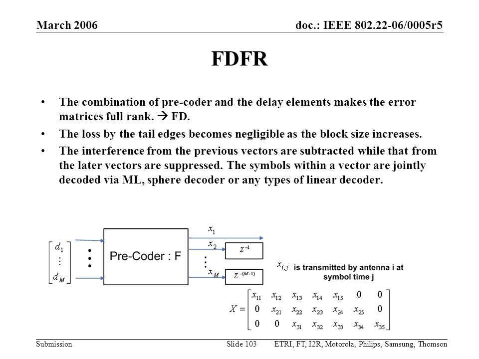 March 2006 FDFR. The combination of pre-coder and the delay elements makes the error matrices full rank.  FD.