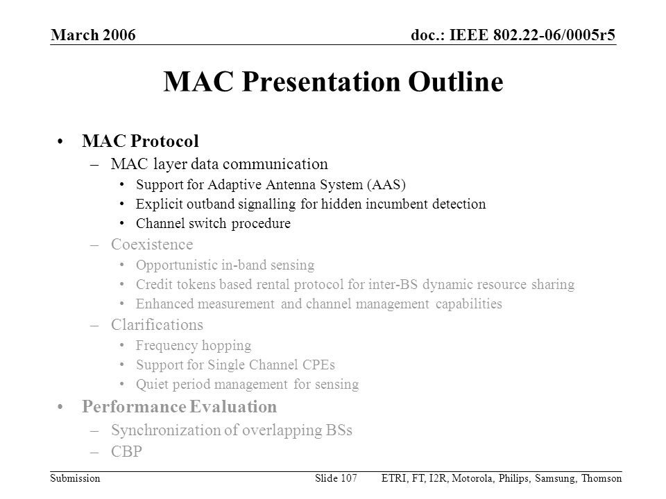 MAC Presentation Outline