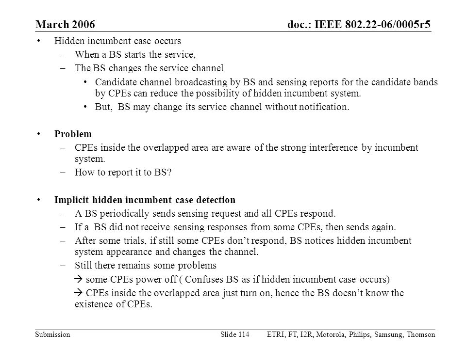 March 2006 Hidden incumbent case occurs When a BS starts the service,