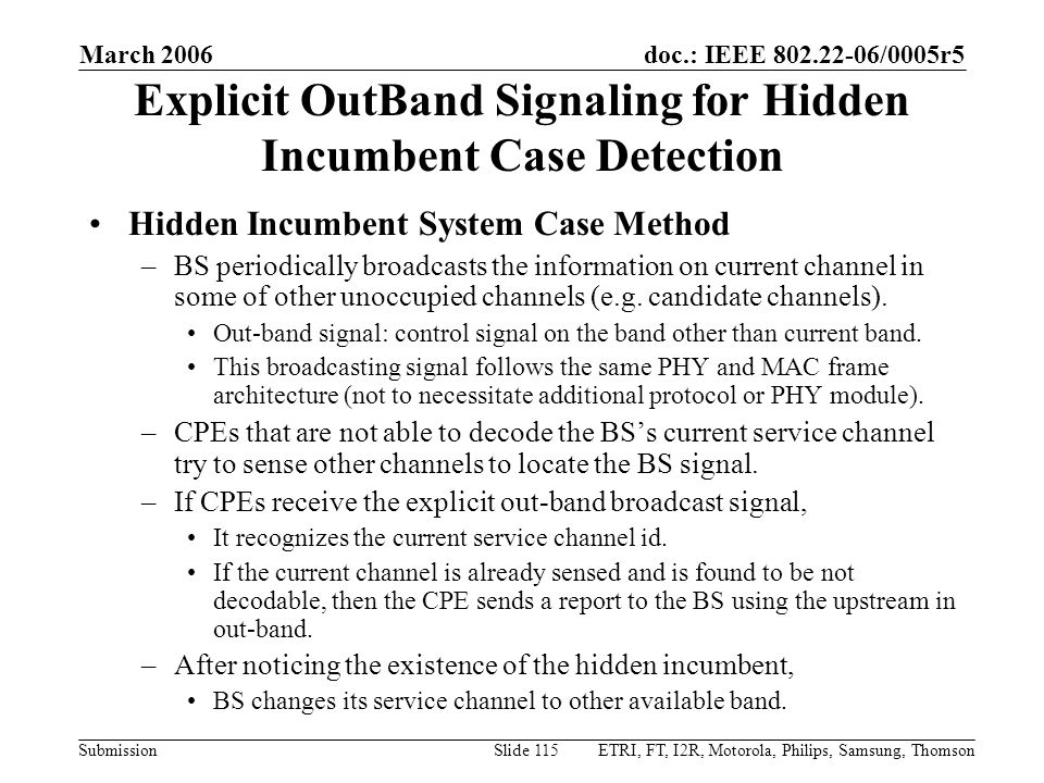 Explicit OutBand Signaling for Hidden Incumbent Case Detection