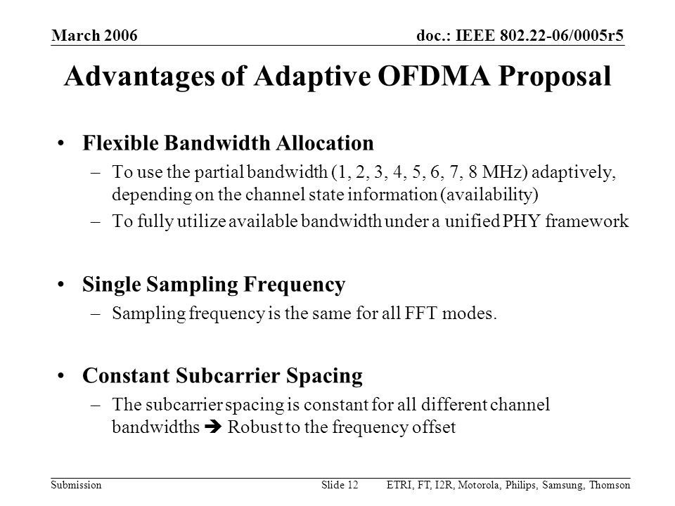 Advantages of Adaptive OFDMA Proposal