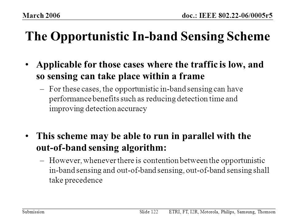 The Opportunistic In-band Sensing Scheme