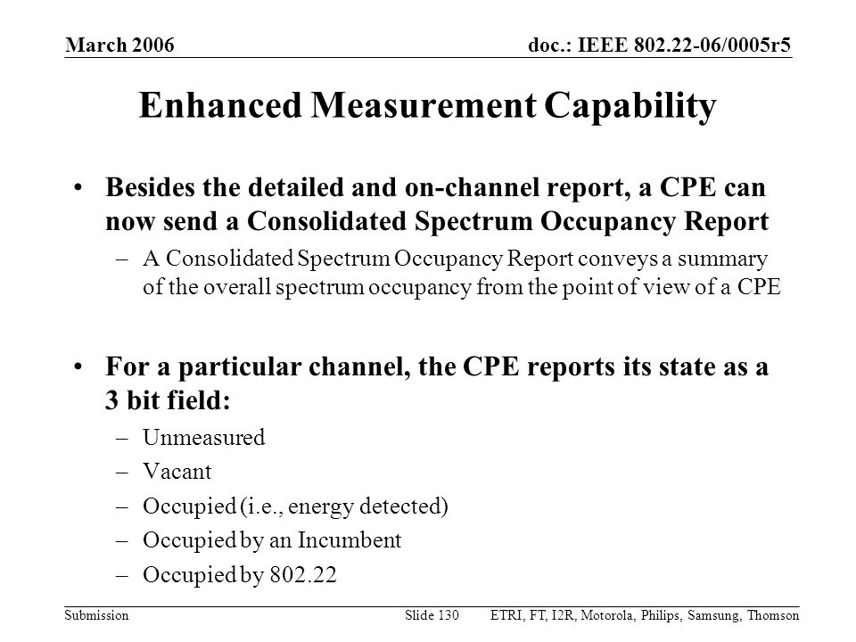 Enhanced Measurement Capability