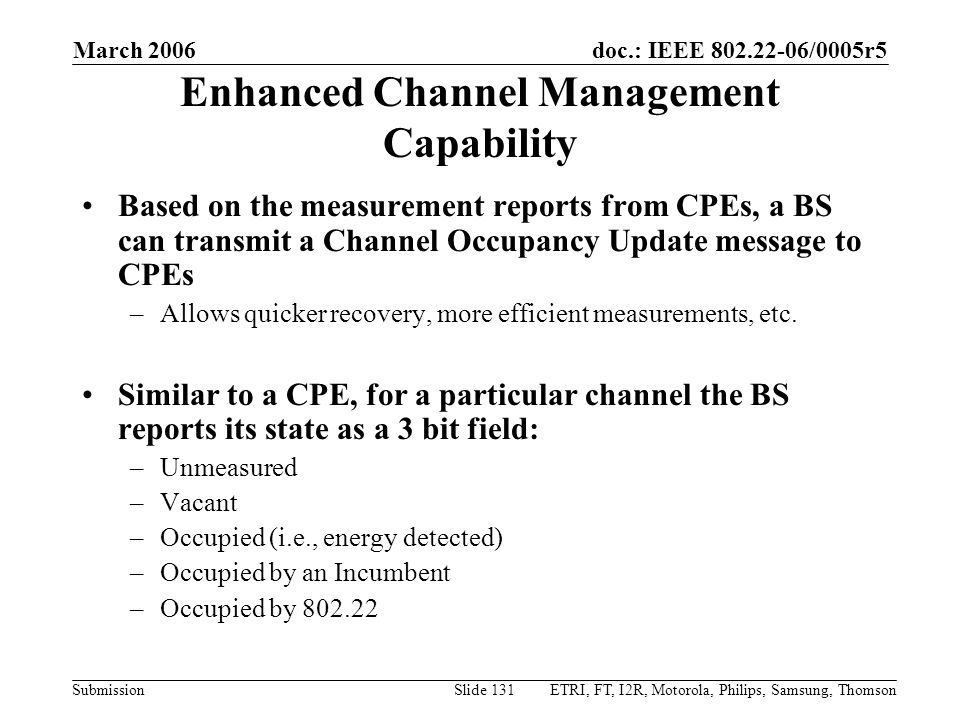 Enhanced Channel Management Capability