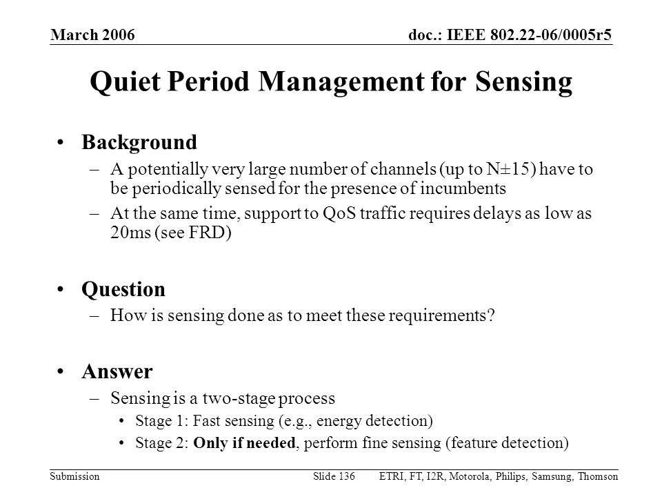 Quiet Period Management for Sensing