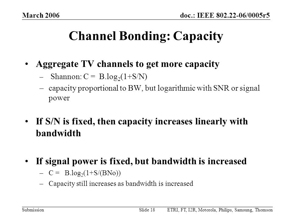Channel Bonding: Capacity