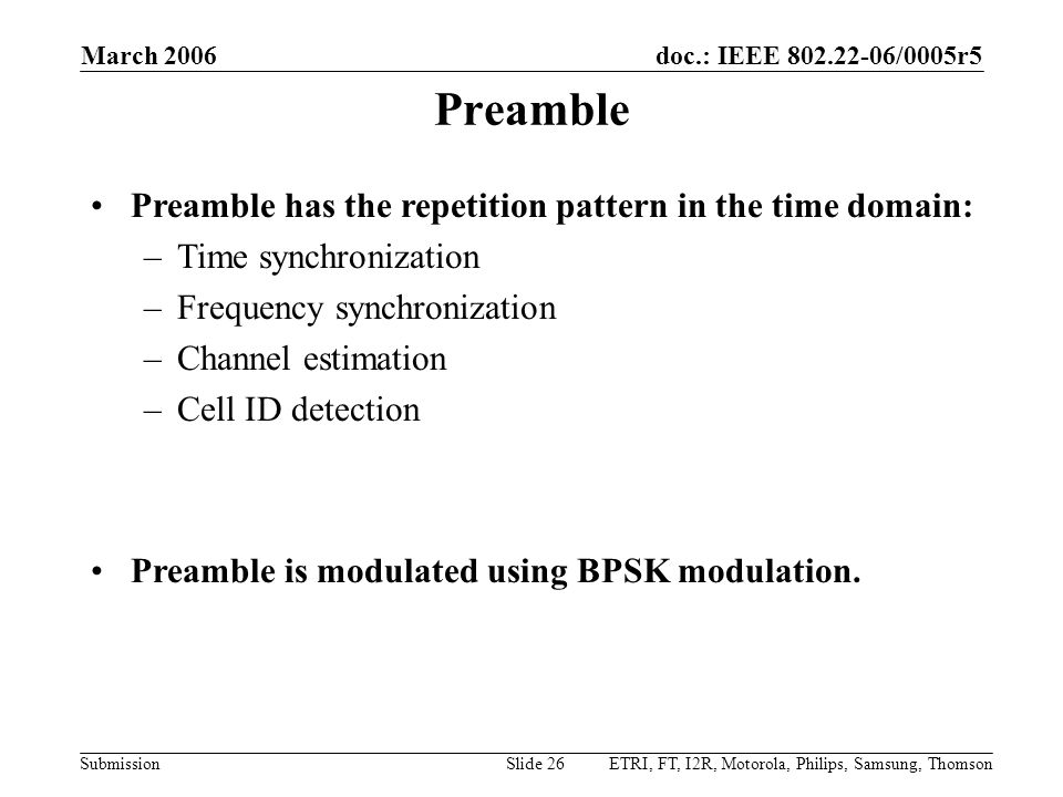 Preamble Preamble has the repetition pattern in the time domain: