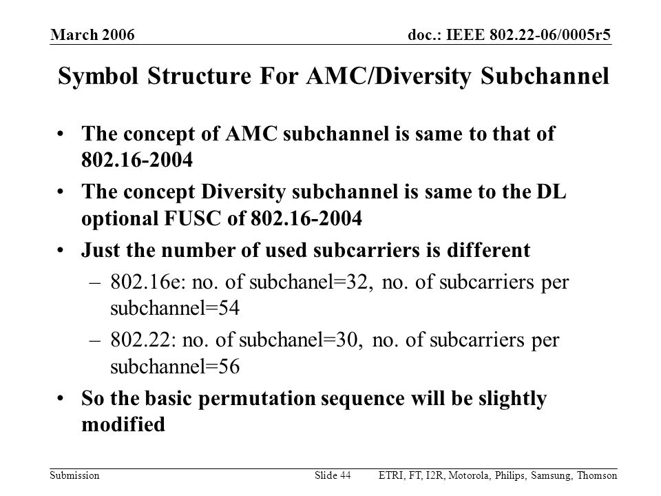 Symbol Structure For AMC/Diversity Subchannel